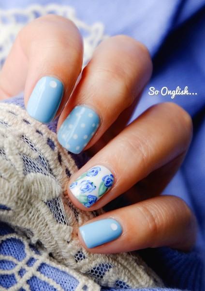 Roses bleues et pois 1